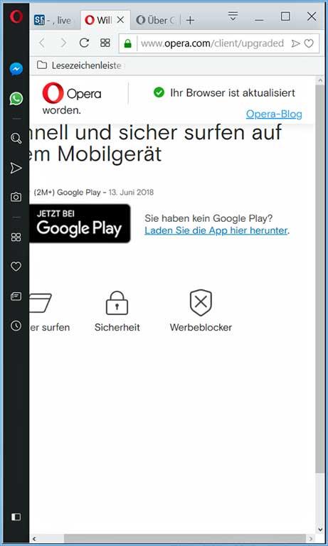 Screenshot Opera Promotion-Seite