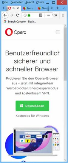 Screenshot Opera Promotion-Seite